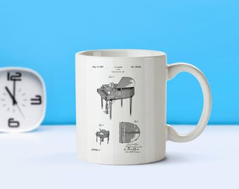 Piano patent mug  coffee mug  coffee lover  patent art  patent mug  Music Decor Vintage Decor Teacher Gift Pianist GiftsM175