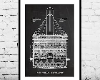 R.M.S. Titanic Cutaway R.M.S. Titanic Poster R.M.S. Titanic Blueprint  R.M.S. Titanic Print R.M.S. Titanic Art R.M.S. Titanic Decor p1435