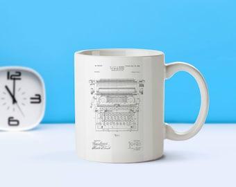 Typewriter patent mug  coffee mug  coffee lover  patent art  patent mug Gifts For WritersVintageTeacher GiftOffice DecorM302
