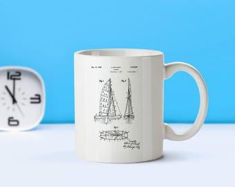 Sailboat patent mug  coffee mug  coffee lover  patent art  patent mug BoatingBoat Decor Vintage CollectiblesNautical DecorM87