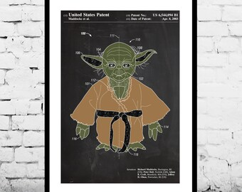 Star Wars Yoda Patent Yoda Poster Yoda Print Yoda Art Yoda Decor Yoda Wall Art Yoda Blueprint p955