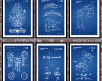 Star Wars patent, 6 pack, Millennium Falcon, Tie Bomber, X-wing, AT-AT, Star Wars Poster, Star Wars Patent, Millennium FalconStar Wars SP533