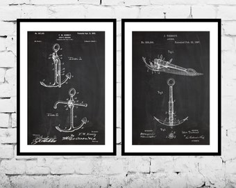 Nautical Decor  Ships Anchor Patent Boat Anchor Patent Nautical Wall Art Nautical Decor Nautical Anchor Art Patent Pairs sp502