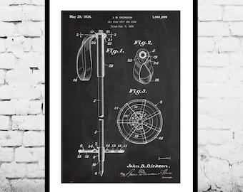 Ski Pole Print, Ski Pole Patent, Ski Pole Poster, Ski Pole Decor, Ski Pole Art, Ski Pole Blueprint, Ski Pole Wall Art, Skiing Decor p269