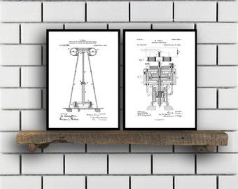 Tesla Patent Set of TWO Tesla Electrical Transmitter Patent Tesla Poster Tesla Transmitter Print Tesla Patent Tesla Inventions SP125