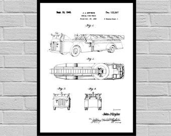 Firetruck Patent, Firetruck Poster, Firetruck Print, Firetruck Art, Firetruck Decor, Firetruck Blueprint, Firetruck Wall art p1108