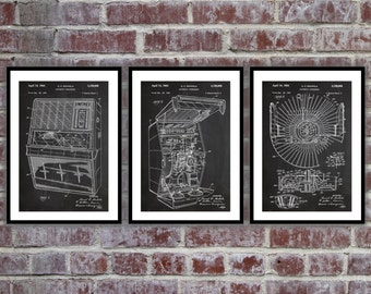 Jukebox Patent, Jukebox Print, Jukebox Poster, Phonograph Patent, Jukebox Art, Jukebox Wall Decor, SET OF 3 PRINTS sp524