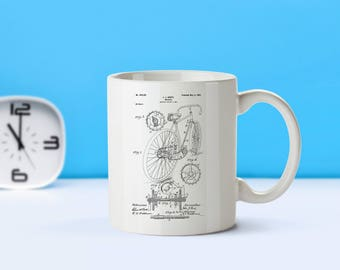 Bicycle patent mug  coffee mug  coffee lover  patent art  patent mug  Bicycle Decor Cyclist Gift Sports Decor Vintage BicycleM207
