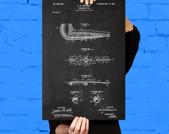 Pipe Poster Smoking Pipe Patent Smoking Pipe Print Smoking Pipe Smoking Pipe Blueprint Smoking Pipe Wall Art p1250