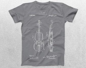 Violin Patent T-Shirt, Violin Blueprint, Patent Print T-Shirt, Musician T-Shirt, Gifts for Music Lovers, Violinist T-Shirt p329