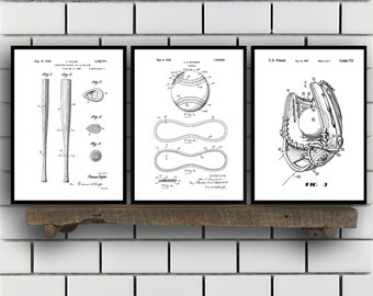 Baseball Patent, Baseball poster Set of THREE, Baseball Invention Patent, Baseball Poster, Baseball Print, Baseball Inventions SP239