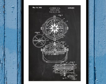 Magnetic Compass Patent Magnetic Compass Poster Magnetic Compass Blueprint Compass Print Compass Art Compass Decor p199