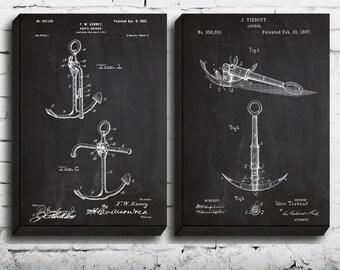 CANVAS  Ship's Anchor  Set of Two  Ship's Anchor Patent Anchor Poster Nautical Art Nautical Decor Anchor Wall Blueprints sp486