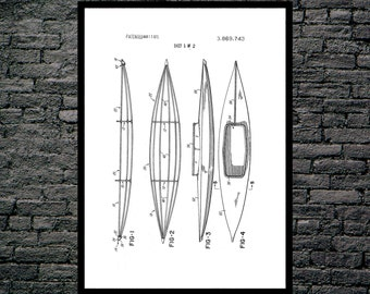 Kayak Patent Kayak Poster Kayak Blueprint  Kayak Print Kayak Art Kayak Decor p181