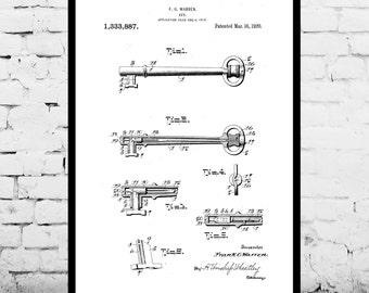 Vintage Skeleton Key Patent Vintage Key Poster Vintage Key Blueprint Vintage Key Print Vintage Key Art Vintage Key Decor p322