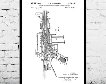 M-16 Rifle Print M-16 Rifle Poster M-16 Rifle Patent M-16 Rifle Art M-16 Rifle Decor M-16 Rifle Wall Decor M-16 Rifle Blueprint p198