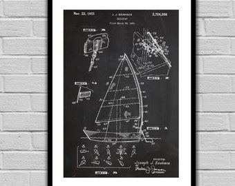 Sailboat Patent Sailboat Poster Sailboat Blueprint Sailboat Print Sailboat Art Sailboat Decor Nautical Decor Nautical Art p253