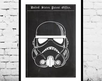 Star Wars Stormtrooper Toy Helmet Decor Star Wars Patent Print Poster Star Wars Wall Decor Star Wars Art p1417