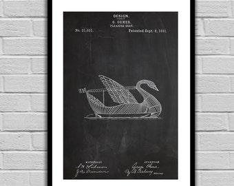 Swan Boat Patent Swan Boat Poster Swan Boat Blueprint Swan Boat Print Swan Boat Art Swan Boat Decor p285