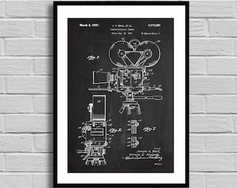 Movie Camera Patent, Movie Camera Patent Poster, Movie Camera Blueprint, Movie Camera Print, Vintage Camera, Movie Decor, Director Giftp1148