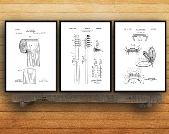 Bathroom Poster, Bathroom Art, Bathroom Decor, Bathroom Art, Toilet paper, Toilet Seat, Tooth Brush, Bathroom Wall Art, Bathroom 3 SP573