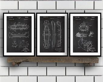Canoe Patent Prints - Set of 3 - Canoe Patent, Canoe Poster, Canoe Blueprint, Canoe Print, Canoe Art, Canoe Decor sp32