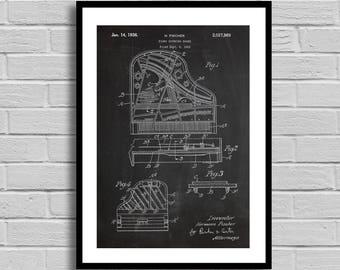 Piano Sounding Board Patent, Piano Sounding Board Patent Poster, Piano Sounding Board Blueprint, Piano Sounding Board Print, Pianist p844