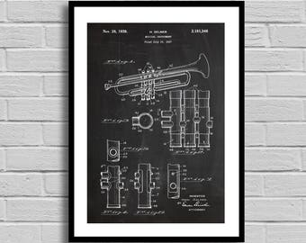 Trumpet Patent, Trumpet Patent Poster, Trumpet Blueprint, Trumpet Print, Musical Instruments, Music Room Decor, Musician Gift, Band Giftp891