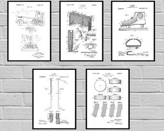 Hockey Patents SET of 5 Posters Hockey Patent Hockey Prints Hockey Gifts Hockey Art Hockey Wall Decor Hockey Glove sp472