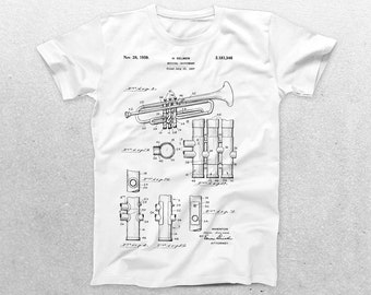 Trumpet Patent T-Shirt, Trumpet Blueprint, Patent Print T-Shirt, Trumpet Player Shirt, Musician Gift, Band tee, patent shirt p891
