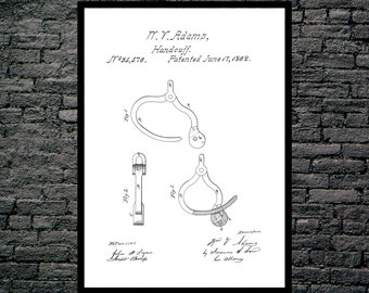 Hand Cuffs Patent Hand Cuffs Poster Hand Cuffs Print Hand Cuffs Art Hand Cuffs Decor Hand Cuffs Blueprint Police Officer Gifts p600