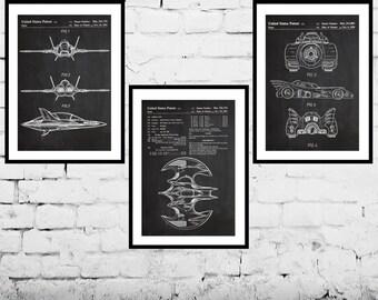 Batman, Batman Poster, Batman Art, Batman wall decor, Batmobile, Batwing, Bat Symbol, Batman 3 pack sp529