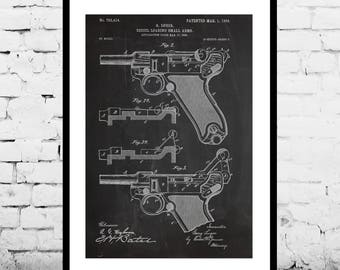 Luger Pistol Handgun Patent Art Print gift Gift for him Luger wall art pistol art pistol german gun WW2 Antique gun World war p1257