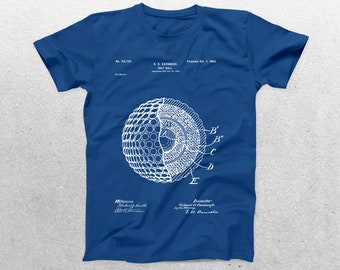 Golf Ball Patent T-Shirt, Golf Ball Blueprint, Patent Print T-Shirt, Golf Player Shirt, Golf Fan Sports Shirt p811