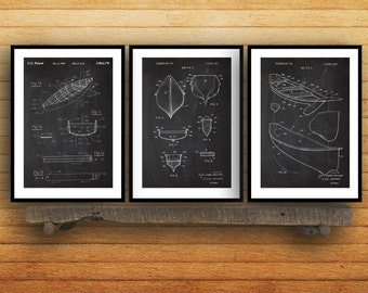 Canoe Patent Prints - Set of 3 - Canoe Patent, Canoe Poster, Canoe Blueprint, Canoe Print, Canoe Art, Canoe Decor sp33