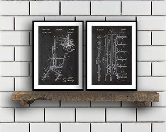Skiing Related Patent Set of TWO Skiing Invention Patent Skiing Poster Skiing Print Skiing Patent Skiing Inventions SP171