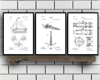 Nautical Patent SET of 3 - Nautical Patent - Nautical Art - Nautical Patent - Mancave Decor - Nautical, Sailing Art, Home Decor SP460