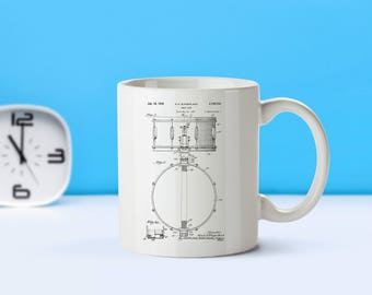 Snare Drum patent mug  coffee mug  coffee lover  patent art patent mug Drummer GiftsPercussion Decor Musician Gifts Music DecorM60