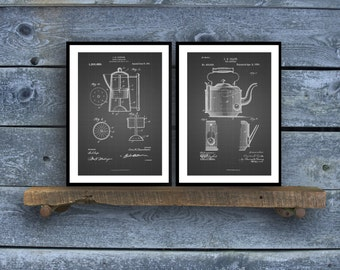 Coffee Pot and Tea Kettle Patent Prints  Set of 2  Kitchen Decor  Coffee Wall Art  Coffee/Tea Decor  Vintage Kitchen Art sp19