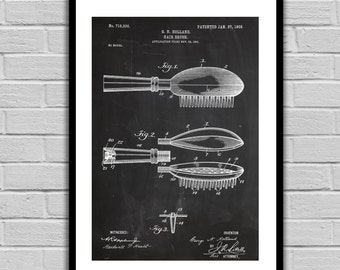 Hairbrush Patent Hairbrush Poster Hairbrush Blueprint  Hairbrush Print Hairbrush Art Hairbrush Decor p153