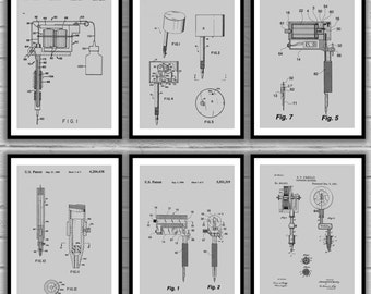 Tattoo Patent Prints - Set of 6 - Tattoo Patent, Tattoo Poster, Tattoo gun Blueprint, Tattoo machine Print, Tattoo Art, tattoo Decor sp35
