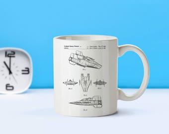 Star Wars AWing patent mug  coffee mug  coffee lover  patent art  patent mug  Star Wars Sci FiM1