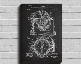 CANVAS  Nautical Compass Patent Nautical Compass Poster Nautical Compass Blueprint Nautical Compass Print Nautical Decor p219