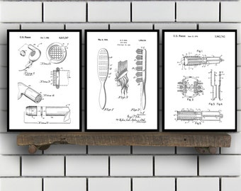 Hair Related Patent Set of THREE, Hair Invention Patent, Hair Poster, Hair Print, Hair Patent, Hair Inventions SP184