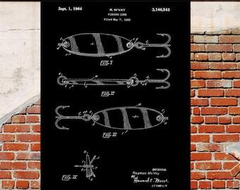 Black and White, Fishing Lure Poster, Fishing Lure Patent, Fishing Lure Print, Fishing Lure Art, Fishing Lure Decor, Fishing Lure sp330