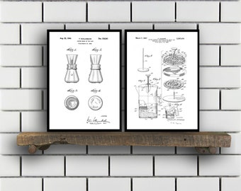 Coffee Related Patent Set of TWO Coffee Invention Patent Coffee Poster Coffee Print Coffee Patent Coffee Inventions SP177
