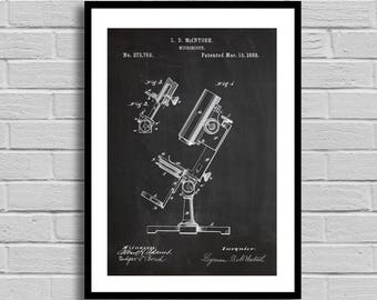 Microscope Patent Microscope Patent Poster Microscope Blueprint Microscope Print Science Decor Medical Gift Biology Teacher Gift p654