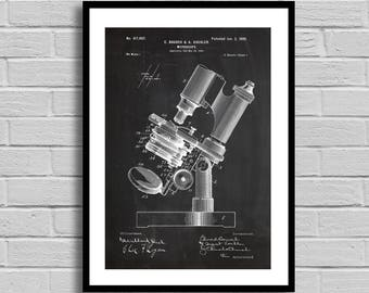 Microscope Patent Microscope Patent Poster Microscope Blueprint Microscope Print Lab Decor Medical Decor Science Gift Doctor Gift p652