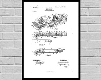 Hair Clipper Shaving Inventions - Shaving Patent - Men's Bathroom Art - Men's Bathroom Wall Art - Razor Patent - Shaving clipper p1362
