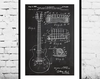 Gibson Les Paul Guitar Print, Gibson Les Paul Guitar Poster, Gibson Les Paul Patent, Les Paul Guitar Art, Gibson Les Paul Decor p805